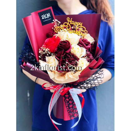 2km Florist Gift Malaysia Online Florist Florist Flower Bouquet Bunga Surprise Balloon Opening Delivery Delivery Kl Kuala Lumpur Selangor Klang Valley Melaka Malaysia Happy Birthday Flower Bouquet