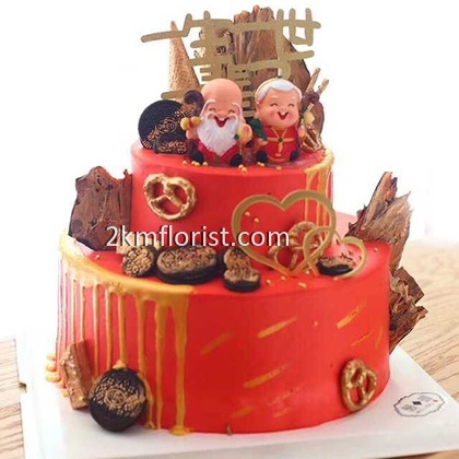 1pcs Cake Topper Old man / Old Woman