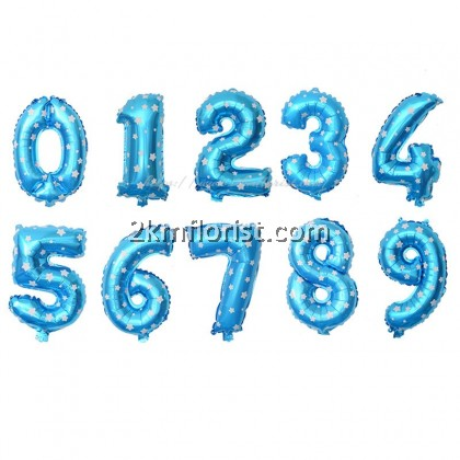 16inch Blue Numbering Foil Balloon