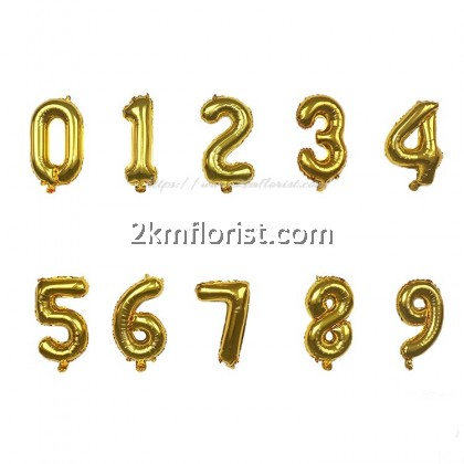 16inch Gold Numbering Foil Balloon